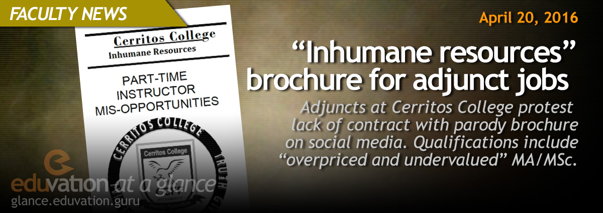 """Inhumane resources"" brochure for adjunct jobs"