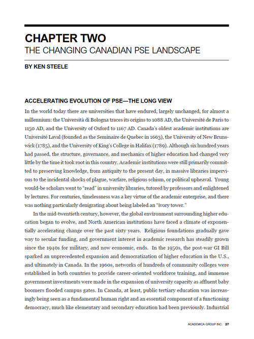 The Changing Canadian PSE Landscape