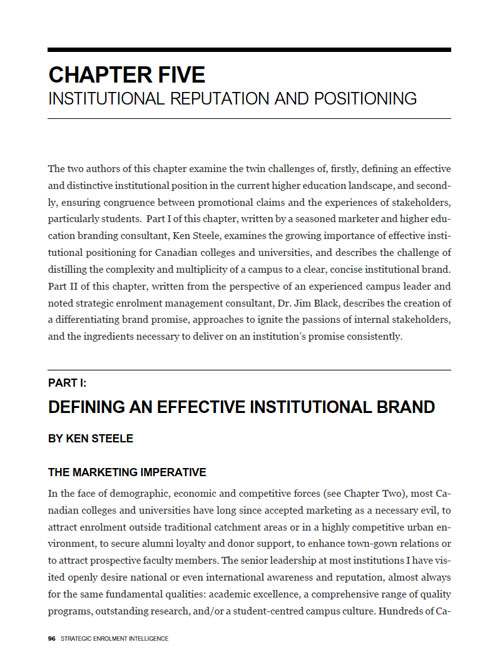 Institutional Reputation and Positioning