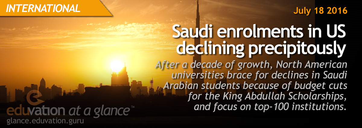 Saudi enrolments in US declining precipitously